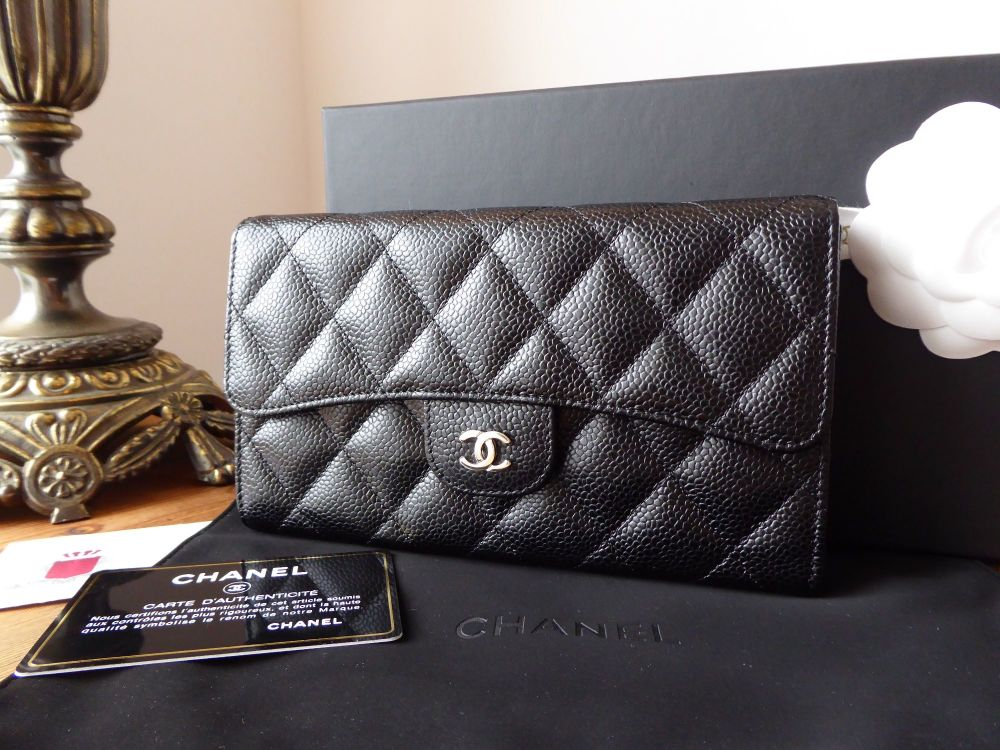 Chanel Classic Continental Flap Purse Wallet in Black Caviar with Shiny Sil