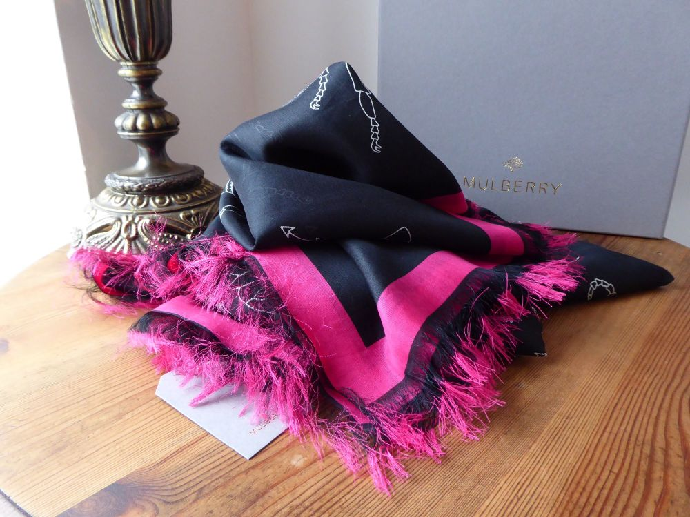 Mulberry Printed Stole Wrap in Black and Fuschia from the Georgia May Jagge