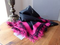 Mulberry Printed Stole Wrap in Black and Fuschia from the Georgia May Jagger Biker Collection - New