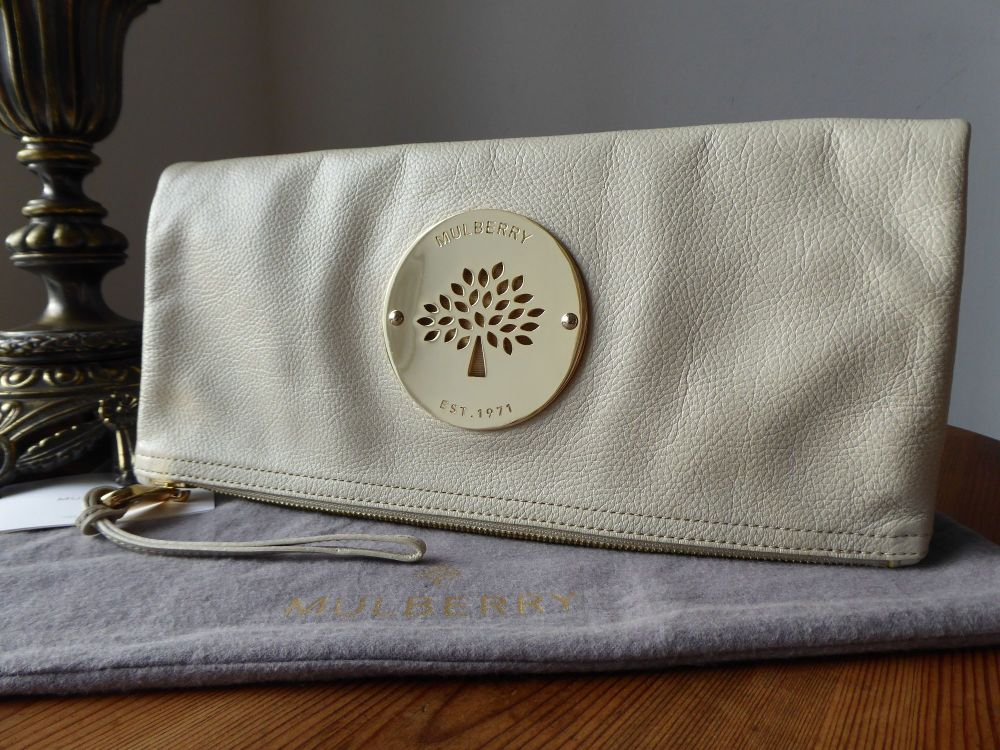 Mulberry Daria Fold Over Clutch in Pear Sorbet Soft Spongy Leather