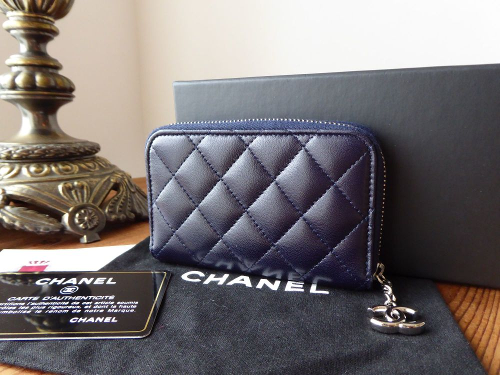 Chanel Small Zip Around Coin Card Case  in Dark Navy Blue Lambskin with Sil