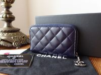 Chanel Small Zip Around Coin Card Case in Dark Navy Blue Quilted Lambskin with Silver Hardware