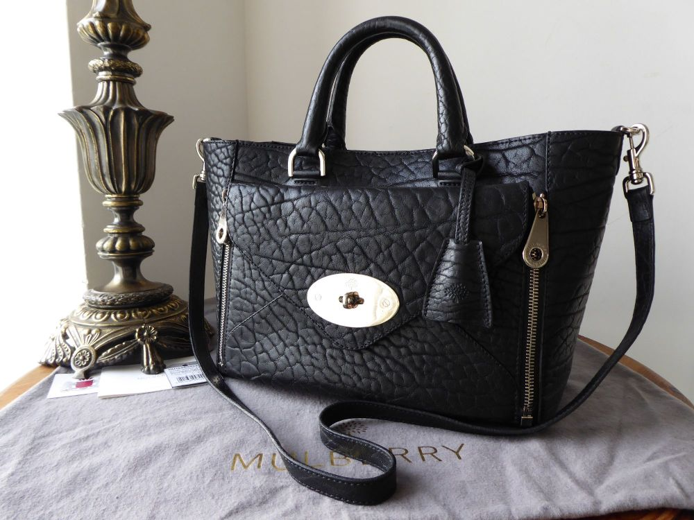 Mulberry Small Willow in Black Shrunken Calf with Silver Nickel Hardware