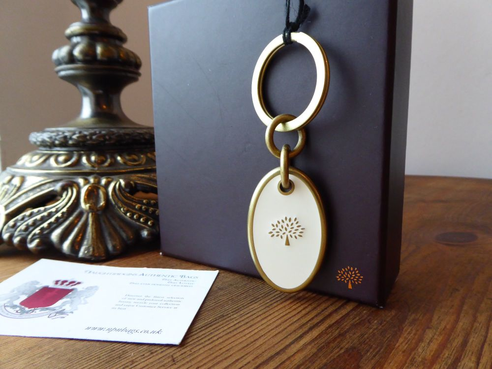 Mulberry Oval Keyring Bag Charm in White Enamel and Brushed Gold - New*