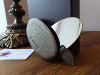 Mulberry Oval Handbag Mirror in Sleeve in Metallic Gunmetal Grainy Goatskin - As New*