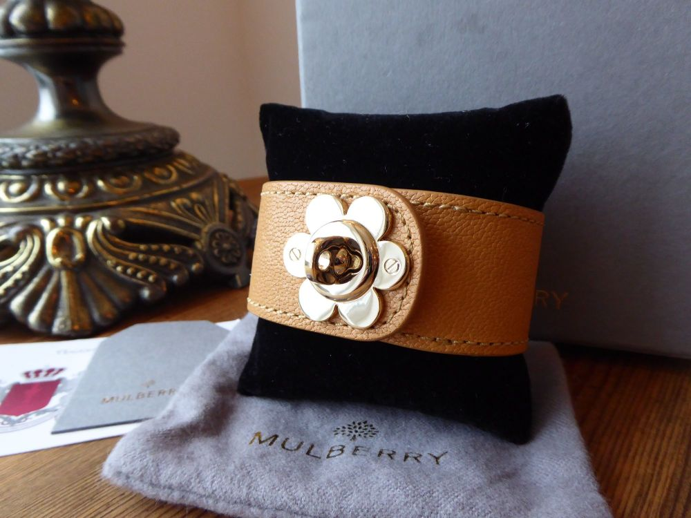 Mulberry Cecily Flower Lock Bracelet Cuff in Biscuit Brown Glossy Goat - As
