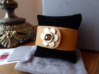 Mulberry Cecily Flower Lock Bracelet Cuff in Biscuit Brown Glossy Goat - As New