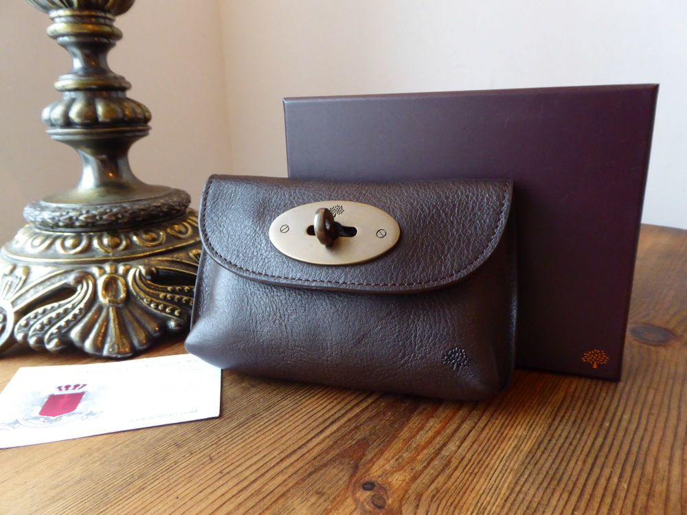 Mulberry Small Locked Key Pouch in Chocolate Darwin Leather with Bronze Har
