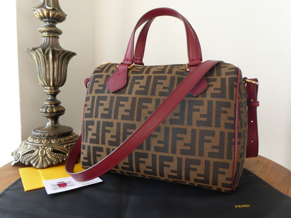 Fendi Bauletto Boston in Zucca Tabac Jacquard and Rosso Vachette - As New