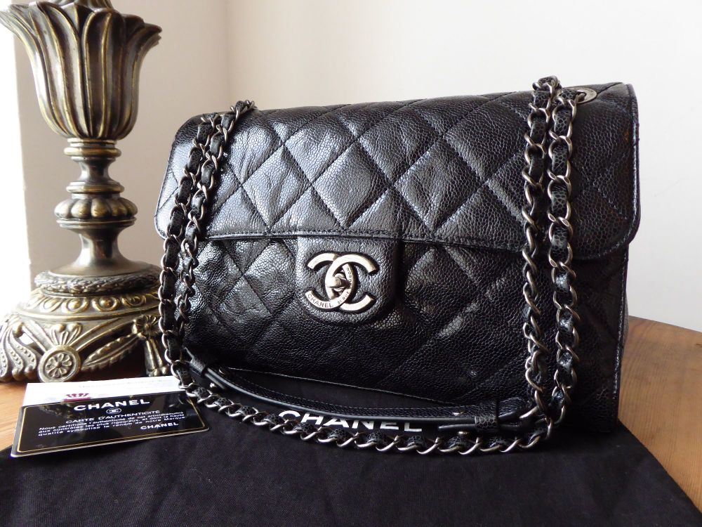 Chanel Medium Crave Single Flap in Black Crumpled Vernice with Ruthenium Ha