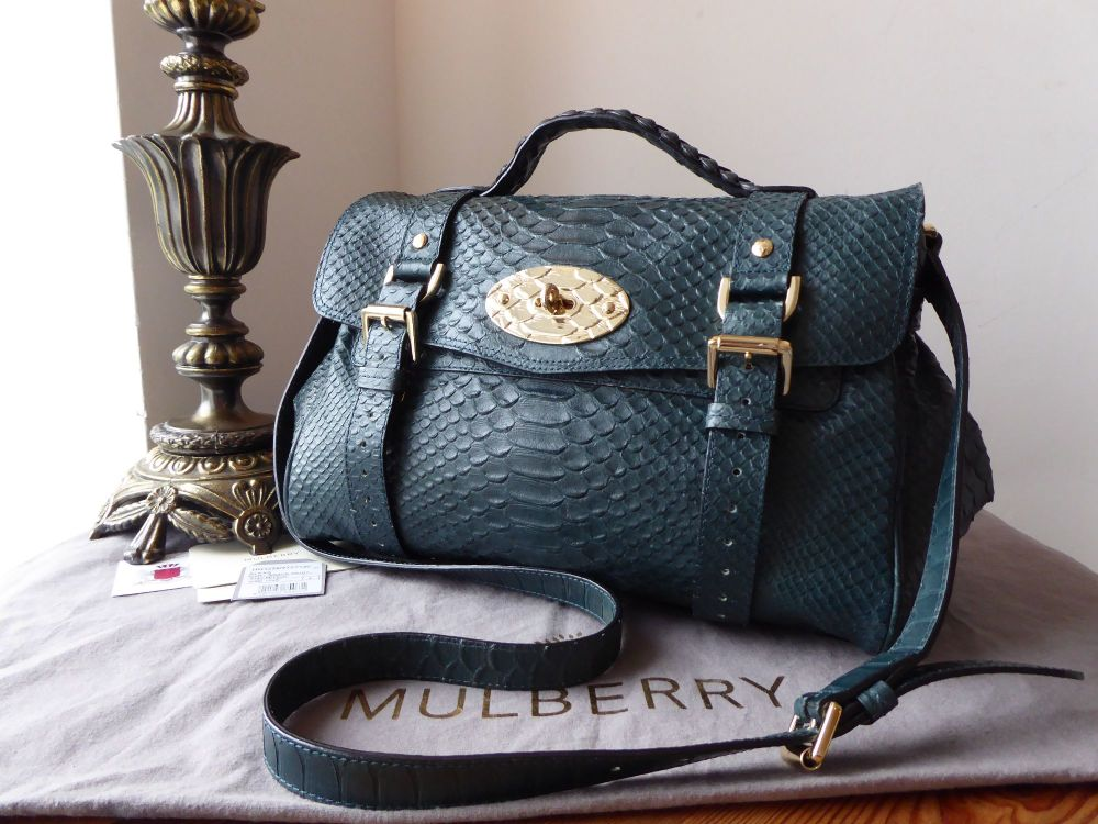 Mulberry Regular Alexa Satchel in Petrol Silky Snake Printed Leather with F