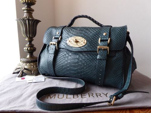 8f9fb9a79c Mulberry Regular Alexa Satchel in Petrol Silky Snake Printed Leather with F