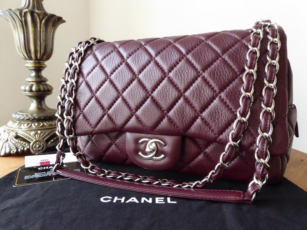Chanel Casual Journey Large Flap Bag in Burgundy Quilted Calfskin with Silv