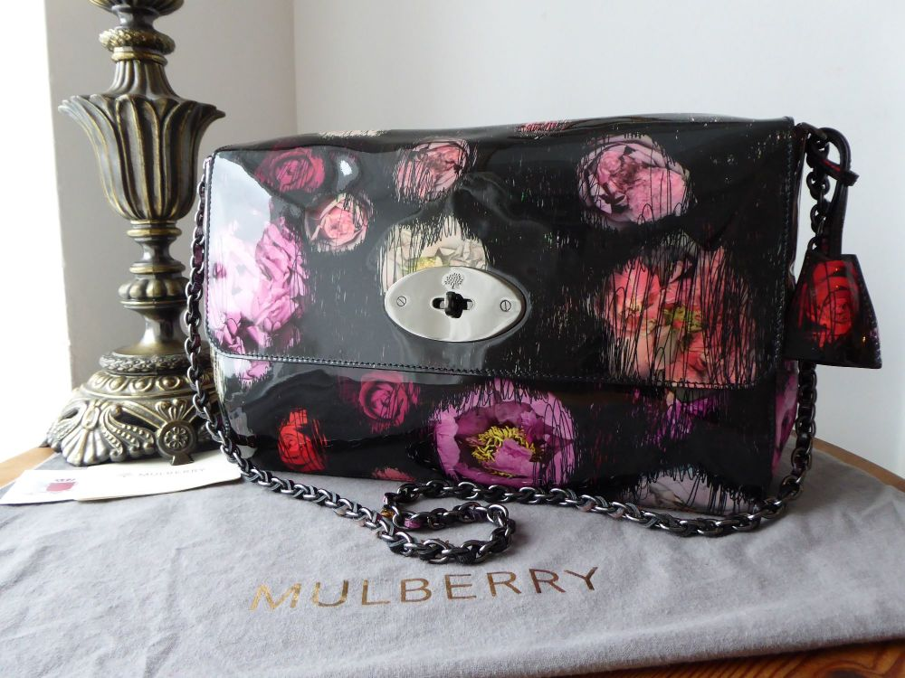Mulberry Large Lily in Scribbly Floral Patent Leather with Shiny Dark Silve