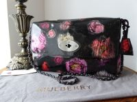 Mulberry Large Lily in Scribbly Floral Patent Leather with Shiny Dark Silver Hardware