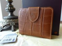 Mulberry Compact Bifold Zip Purse Wallet in Oak Printed Leather - New