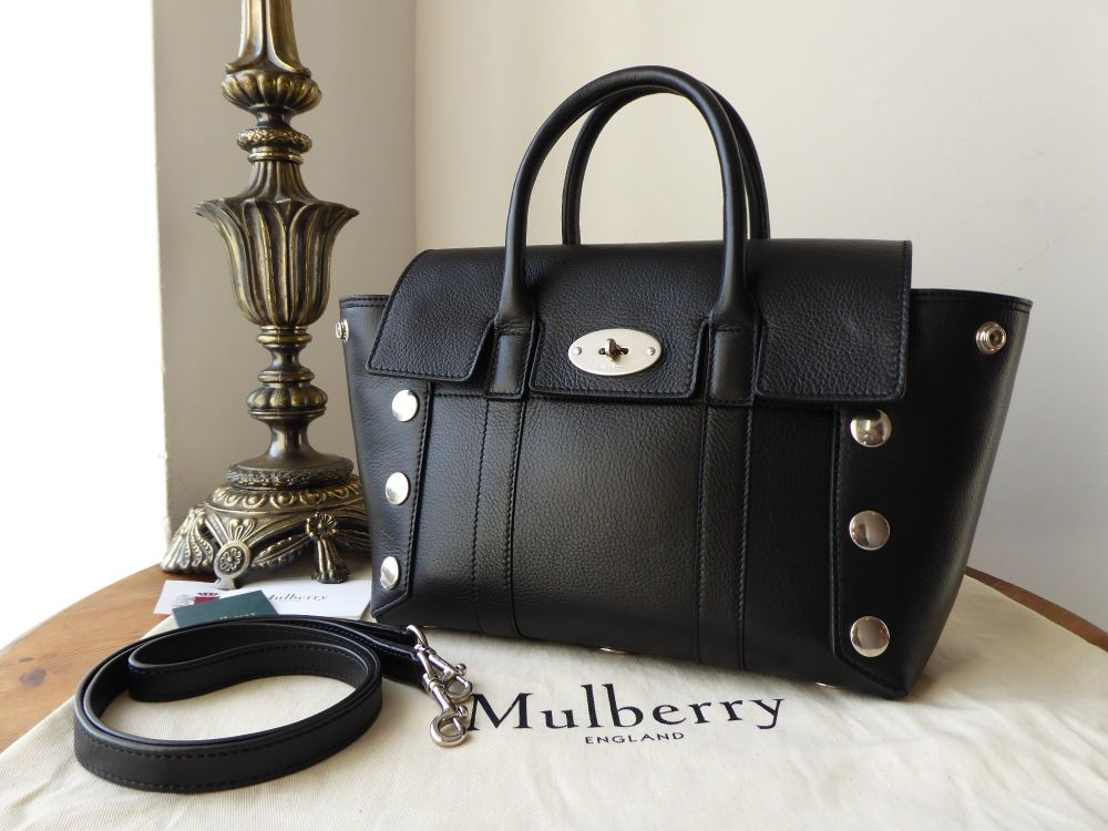 6a970fac77 Mulberry Small New Bayswater in Black Smooth Calf with Studs - SOLD