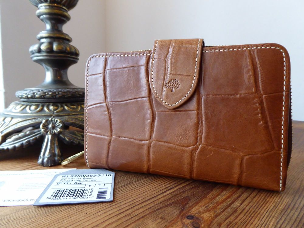 Mulberry Medium Bifold Zip Around Purse Wallet in Oak Printed Leather - New