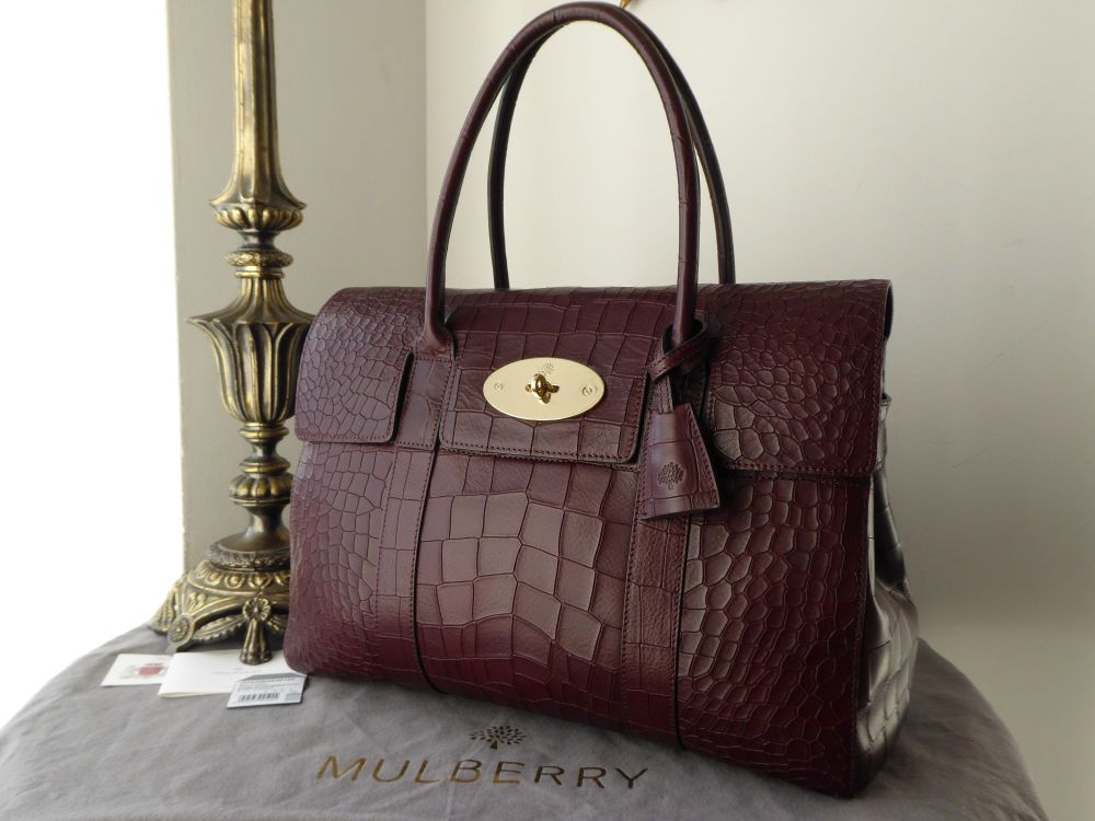 Mulberry Classic Bayswater in Oxblood Deep Embossed Croc Printed Leather -
