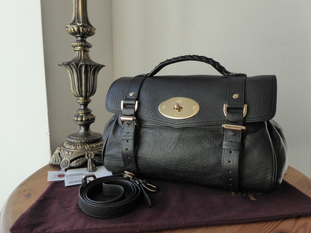 Mulberry Regular Alexa in Black Polished Buffalo Leather with Shiny Gold Ha