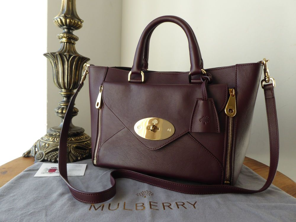Mulberry Small Willow Tote in Oxblood Silky Classic Calf
