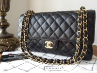 Chanel Classic Medium Double Flap Bag in Black in Caviar with Gold Hardware - As New