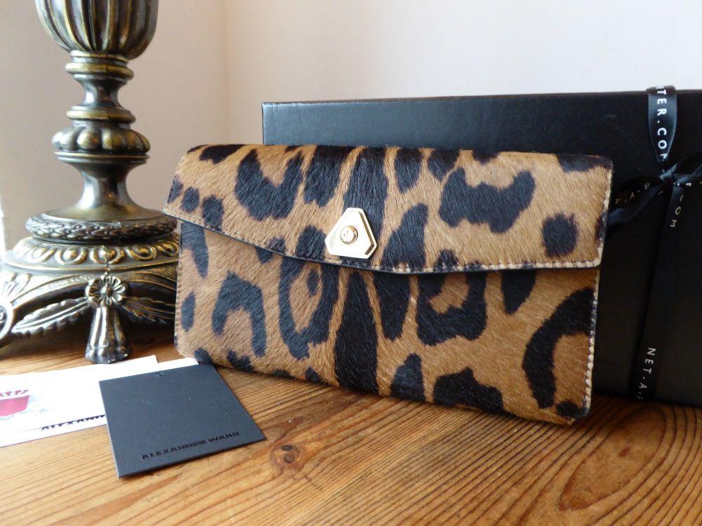Alexander Wang Trigone Leopard Print Calf Hair Continental Purse