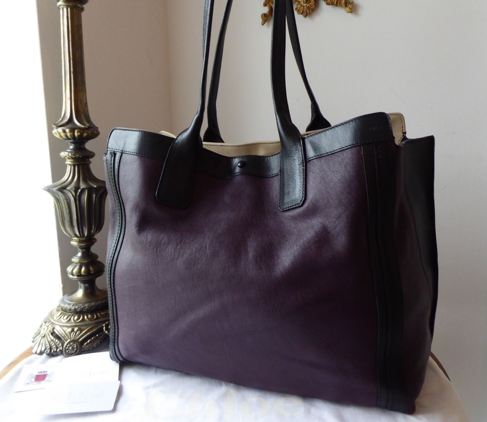 Chloe Alison Large Colour Block Tote in Pansy Purple Grainy Calfskin