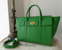 Mulberry Bayswater with Strap in Grass Green Small Classic Grain - As New