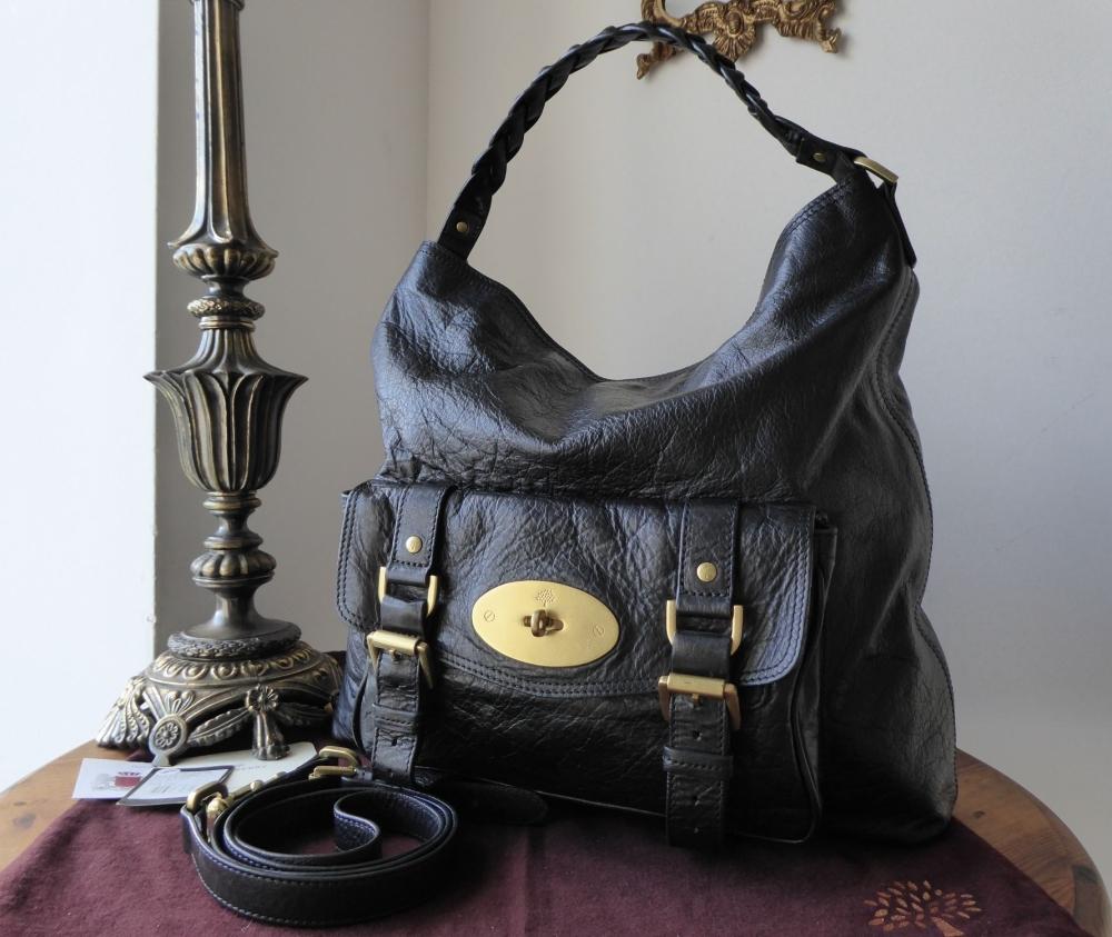 Mulberry Alexa Hobo in Black Soft Buffalo Leather
