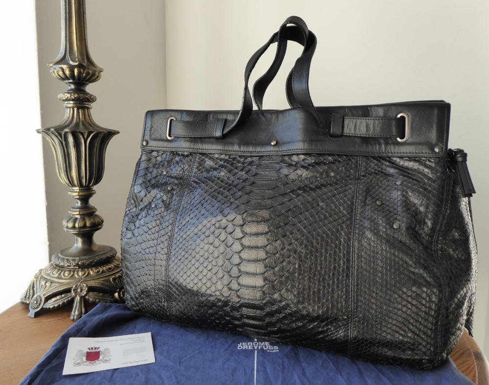 Jerome Dreyfuss Carlos Tote in Black Python