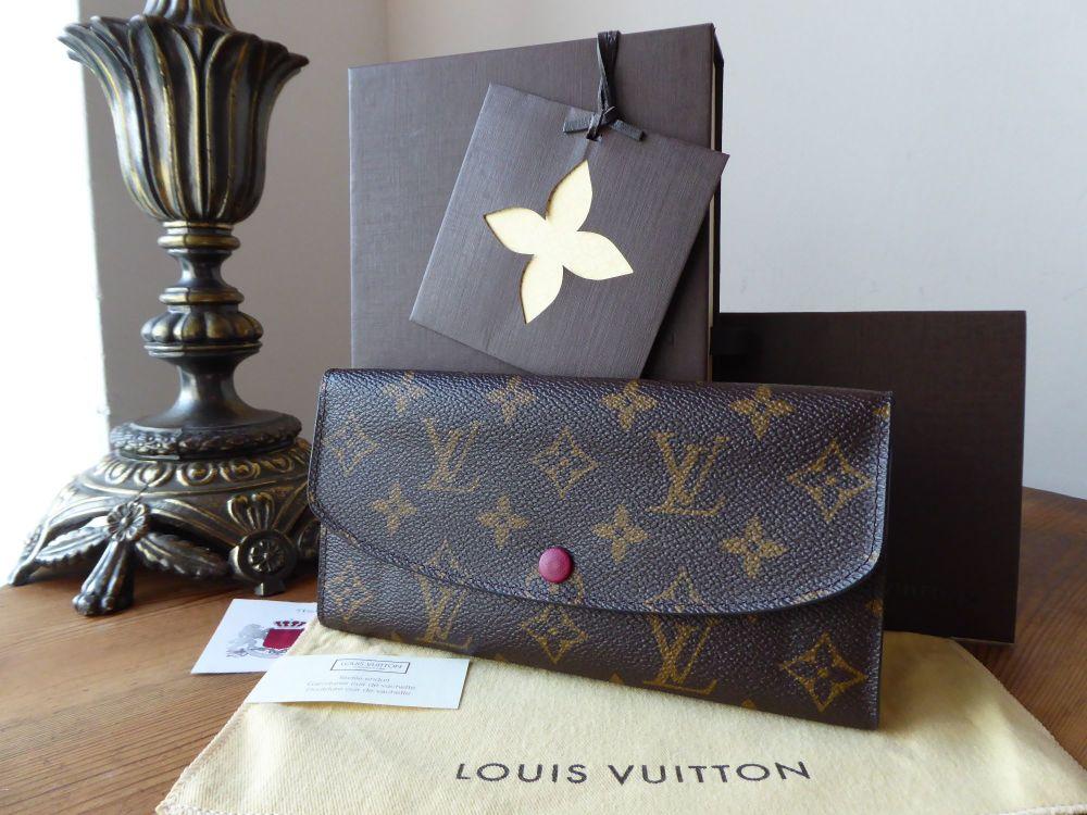 Louis Vuitton Emilie Continental Purse Wallet in Monogram and Fuchsia