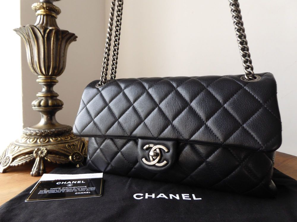 4316331774a170 Chanel Coco Soft Flap Bag in Grained Calfskin with Ruthenium Hardware - As