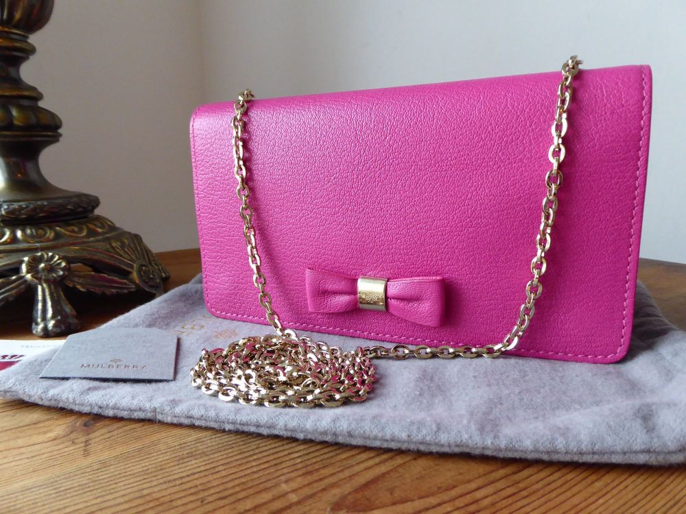 Mulberry Bow Shoulder Clutch Wallet on Chain in Mulberry Pink Glossy Goat -