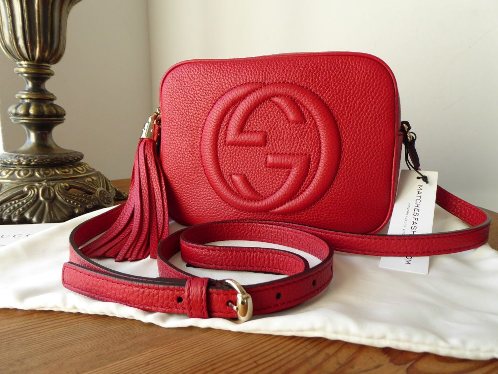22244b02ef54 Gucci Soho Disco Crossbody Zip Pouch Bag in Red Calfskin - New ...