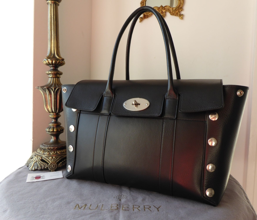 Mulberry Large Bayswater with Studs in Black Smooth Calf