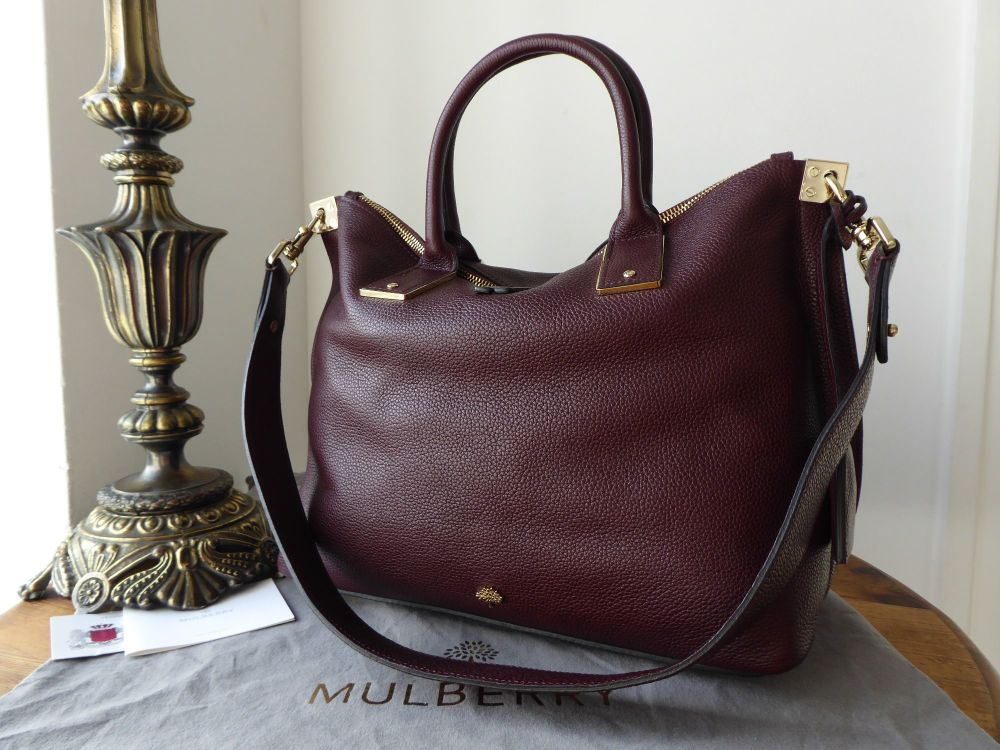 Mulberry Alice Small Zipped Tote in Oxblood Small Classic Grain Leather