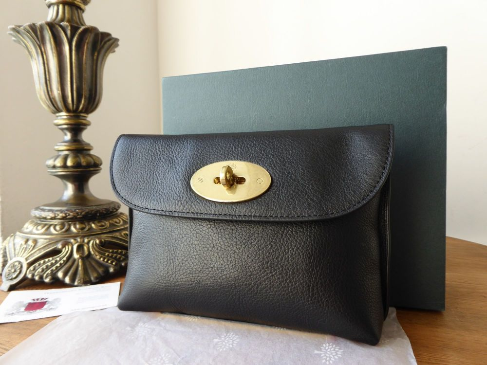 Mulberry Locked Pouch in Black Natural Leather - New