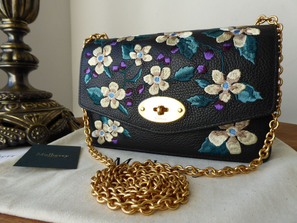 Mulberry Small Darley Black Flower Embroidery Small Classic Grain - New