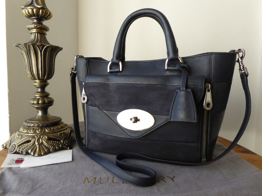Mulberry Small Willow Tote in Midnight Blue Calfskin & Nubuck Stripe