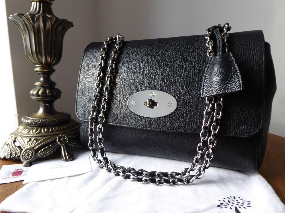 Mulberry Medium Lily in Black Glossy Goat with Silver Nickel Hardware