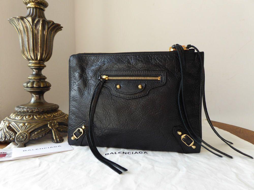 Balenciaga Zip Pouch Clutch in Black Lambskin with Classic Shiny Gold Hardw