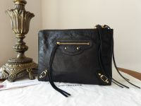 Balenciaga Zip Pouch Clutch in Black Lambskin with Classic Shiny Gold Hardware