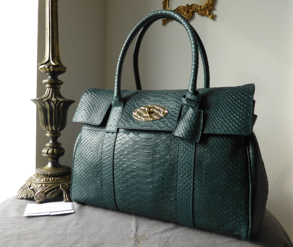 Mulberry Classic Bayswater in Petrol Silky Snake Printed Leather with Featu