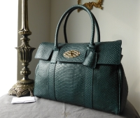 Mulberry Classic Bayswater in Petrol Silky Snake Printed Leather with Feature Postmans Lock