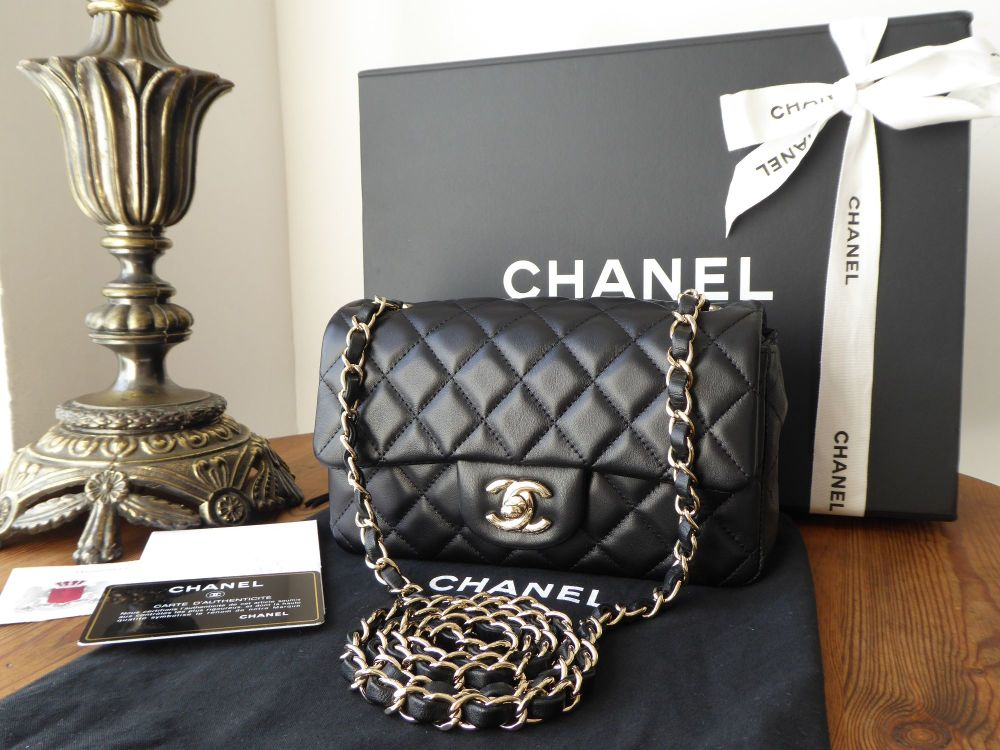 Chanel Mini Rectangular Flap in Black Lambskin with Pale Gold Hardware