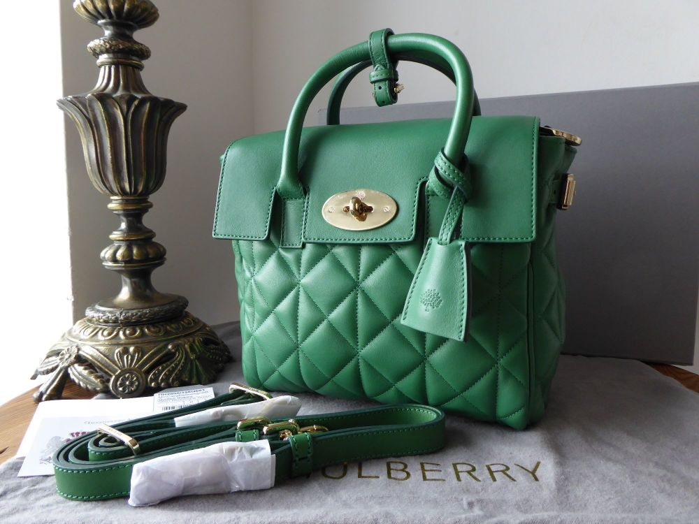 Mulberry Mini Cara Delevingne Bag in Green Quilted Lamb Nappa - New