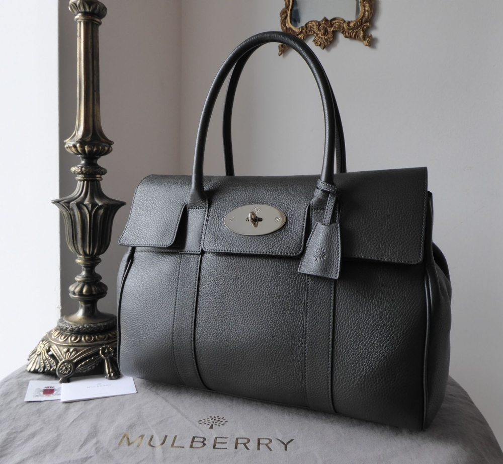 Mulberry Classic Bayswater in Graphite Pebbled Leather with Shiny Silver Ha