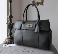 Mulberry Classic Bayswater in Graphite Pebbled Leather with Shiny Silver Hardware