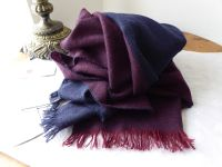 Mulberry Cashmere Scarf in Oxblood and Navy Double Stripe